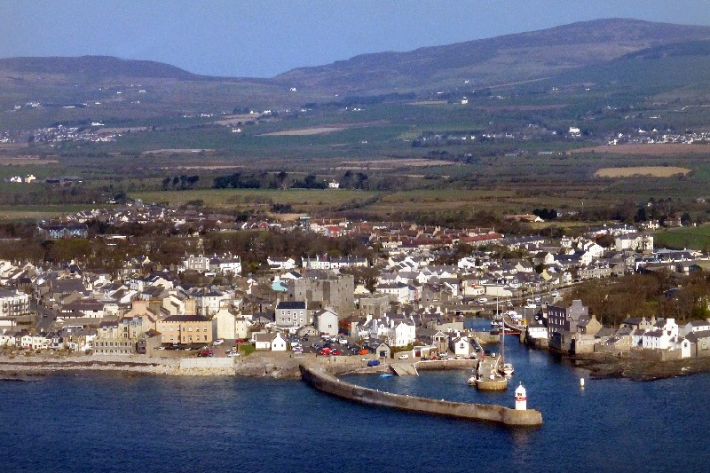 Picture postcard view of Castletown from the air.