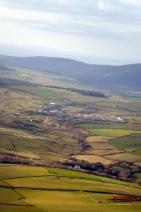 A bit hazy but pleasing rural aerial view of the island.