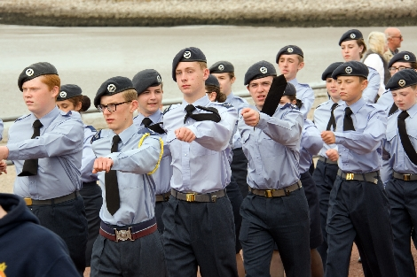 RAF cadets march at the end of the parade.
