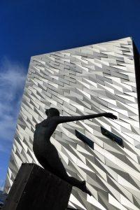 Rowan Gillespie's sculpture Titanica in front of museum.