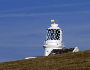 Peeping over the hill, St Bee's Lighthouse.