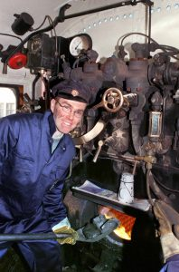 In my element on the footplate back in 2000.
